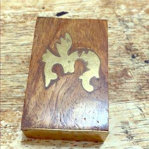 Vintage miniature Wooden & Brass Box